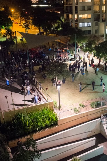 Hundreds of people have been heading to the park each night to catch Pokémon.
