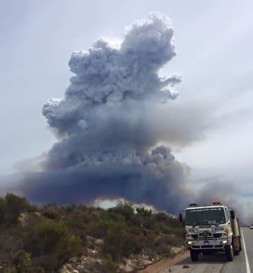 A bushfire burning out-of-control near Wedge Island.
