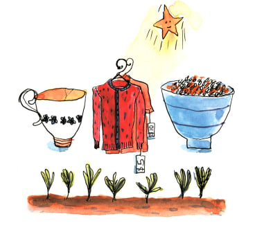 Life under a frugal star: a broken cup, clothes from an op shop, a bowl of brown rice and lentils, and vegies growing in the ground.