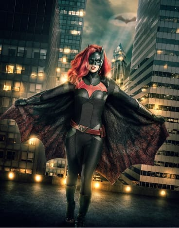 Ruby Rose as Batwoman in an iconic costume designed by Oscar winner Colleen Atwood.