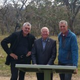 Left to right, the ACT Conservation Council's Larry O'Loughlin, left, with Planning Minister Mick Gentleman, and Rod Griffiths, who leads a 306 kilometre circuit of the ACT's border, at Namadgi on Friday.