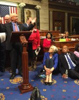 Democrat members of Congress on the floor during the sit-down protest.