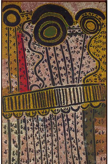 Joe Japanangka James, Wakulyarri Jukurrpa (Rock wallaby Dreaming), 1986, synthetic polymer paint on composition board. National Gallery of Victoria of Victoria.