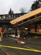 The Amtrak train that killed passengers as it derailed south of Seattle on Monday.
