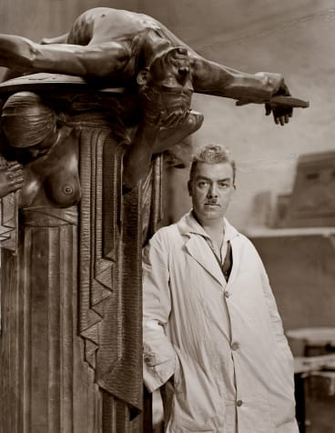 Rayner Hoff with his sculpture Sacrifice.
