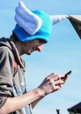 A Pokemon Go fan about in Sydney on Sunday.