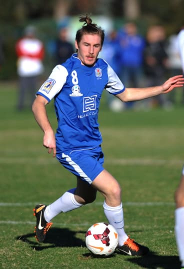 Josh Gaspari, pictured playing for Canberra Olympic last year, has accepted an offer from the Western Sydney Wanderers' National Youth League squad.