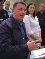 Logan Mayor Luke Smith and Queensland Premier Annastacia Palaszczuk at the Daisy Hill SES depot on Sunday.