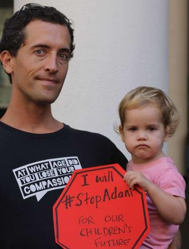 Adani protesters in Brisbane.