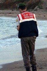 The body of three-year-old Alan Kurdi on the beach near Bodrum, Turkey, last year.