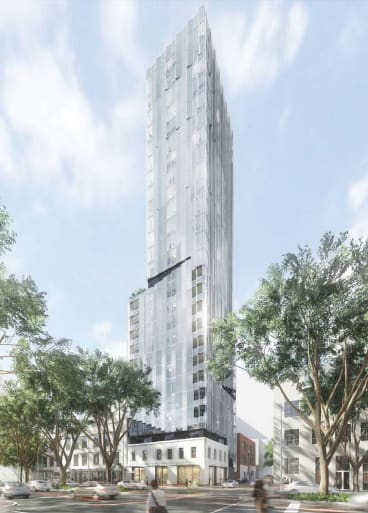 The 26-level tower to rise on the site of the Great Western Hotel, on the corner of King and Little Bourke streets.