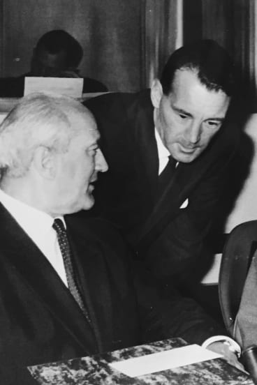 Bill Higgie with the UN High Commissioner for Refugees, Felix Schnyder, Geneva 1961.