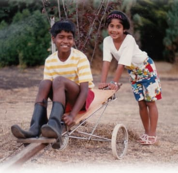 Bourke with her brother Damian.
