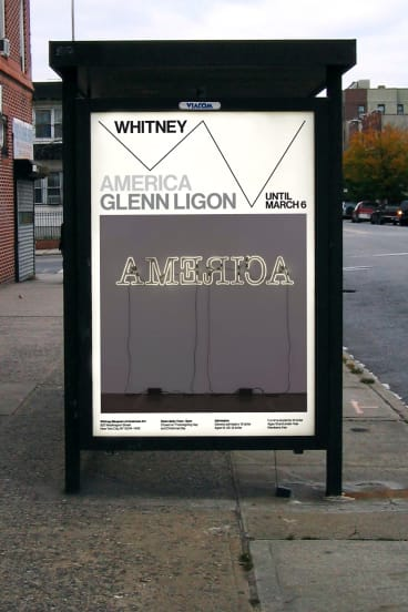 A Whitney billboard features graphics by Experimental Jetset.