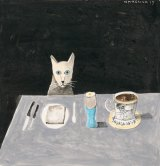 Cat at table, 2015 by Noel McKenna.