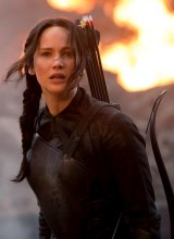 Jennifer Lawrence as Katniss Everdeen in <i>The Hunger Games: Mockingjay</i>.