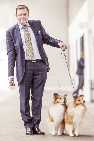 """Sometimes the outfit I wear is based on the judge. If the judge is a little bit out there, you can wear a brighter jacket, a more flamboyant tie."" Darren Griffiths, of Melbourne, with Shetland sheepdogs."