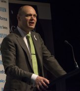 Myer CEO Richard Umbers speaks at The Australian Financial Review summit on Wednesday.
