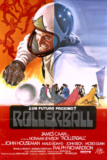 A near future? A poster for the 1975 film Rollerball, starring James Caan.