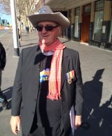 Mike Holt at an anti-Islam rally in Melbourne in July.