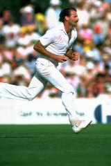 Dennis Lillee comes off the long run.