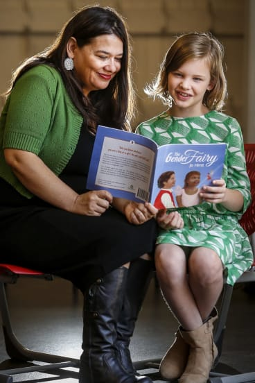 Jo Hirst launches her book 'The Gender Fairy' at a primary school in 2015.