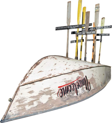 Karla Dickens' Unwelcome features an upturned boat and crosses made of oars.