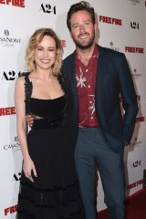 Brie Larson and Armie Hammer at the Los Angeles premiere of <i>Free Fire</i> on April 13.