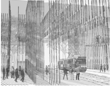 Australian Institute of Architects' Light Rail Station Ideas Competition winner Urban Line by Ann Cleary and Cassandra Cutler