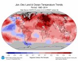 Most of the world was warmer than average last year.