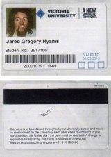 Jared Hyams' Victoria University student card.