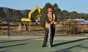 Tennis ACT CEO, Ross Triffitt, at the Lyneham construction site, where the tennis centre redevelopment is taking place.