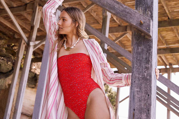 My General Store wrap dress, $350. The Upside swimsuit, $289.