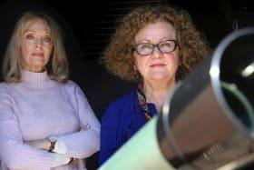 Nadia Tass (right) directs actress Belinda Giblin, who has fun playing motelier Rhonda and Professor Kell-Cantrel.