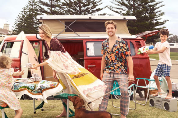 "Queenie wears Country Road ""Ditsy Print"" dress, $70. Elizabeth wears Etro dress, $1903, from The Outnet. Tom wears Topman shirt, $60, and pants, $80. Charlie wears Bassike T-Shirt, $50, and Country Road shorts, $50."