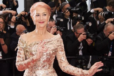 Helen Mirren poses for photographers upon arrival at the premiere of the film 'The Best Years of a Life' at the 72nd international film festival, Cannes.