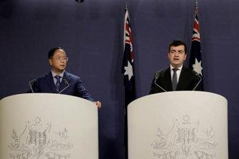 Huang Xiangmo and Sam Dastyari at the Chinese media press conference that would cost Dastyari his political career.