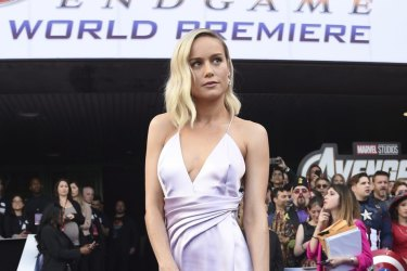 """Brie Larson arrives at the premiere of """"Avengers: Endgame"""" at the Los Angeles Convention Center on Monday, April 22, 2019. (Photo by Chris Pizzello/Invision/AP)"""