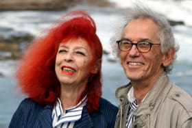 Jeanne-Claude and Christo in 2007 at Little Bay where they created Wrapped Coast.