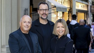 Businessman Chris Lucas with Martin Benn and Vicki Wild in Collins Street.