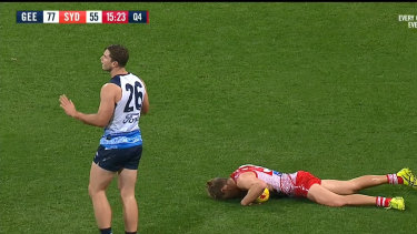 Geelong forward Tom Hawkins could face some scrutiny from the MRO after an errant elbow floored his opponent