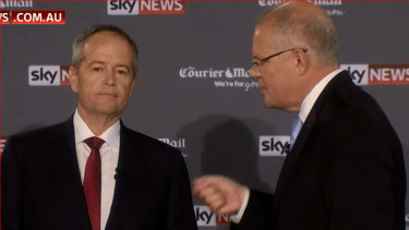 Bill Shorten and Scott Morrison in the second leaders' debate on Sky News on Friday night.