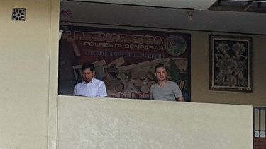 David Van Iersel (right) at Denpasar police station on Monday.