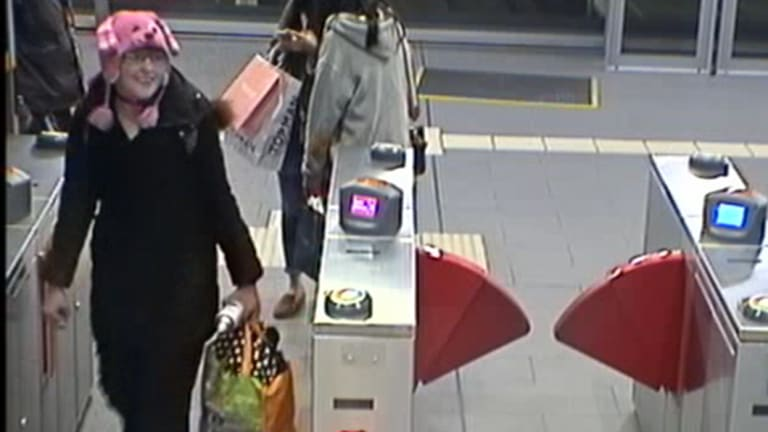 Nicole Cartwright, whose body was found at Buffalo Creek Reserve, Hunters Hill, shown on CCTV footage exiting Museum station on September 30.