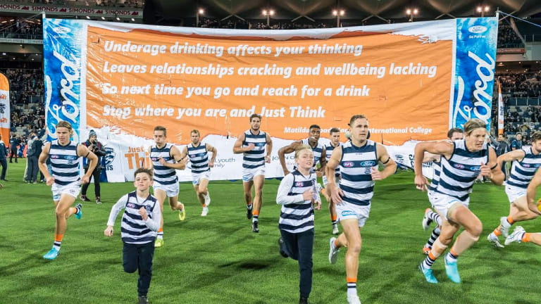 Geelong dedicate a one home match each year to 'Just Think', which is aimed at reducing binge drinking in high school kids.