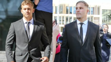 Callan Sinclair, left, and Jack de Belin during earlier Wollongong court appearances.