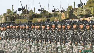 The People's Liberation Army parade at the Zhurihe military training base in China's Inner Mongolia region.