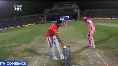 Indian spinner Ravichandran Ashwin's Mankad run-out of England's Jos Buttler.