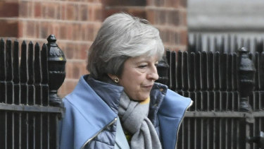 Britain's Prime Minister Theresa May leaves 10 Downing Street, in London, on Friday.