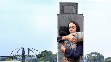 An artist's impression of the mural of Jacinda Ardern on a Brunswick silo.